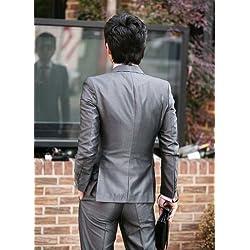 (ソフトワン)Soft one 着心地OK スーツ メンズ 上下セット 背広 サラリーマン 正装 結婚 ウェディング 就職 卒業 ビジネス 成人式 通勤 紳士服 メンズ (グレー, XL )