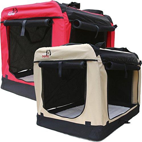 Hundetransportbox-faltbar-Transportbox-fr-Hunde-Dogi-Kennel-6-Gren-S-bis-XXXL-rot-und-beige