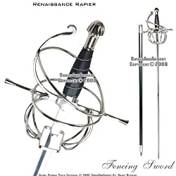 New Ace Martial Arts Supply Renaissance Rapier Fencing Sword with Swept Hilt Guard … from Ace Martial Arts Supply