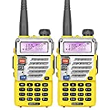 2PCS Yellow Dual Band Two Way Radio/2 Way Radio Baofeng UV-5RE Wireless Communicator With Free Earphone