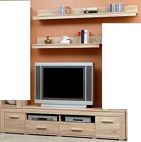schönes TV-Lowboard in eiche sägerauh - zusammen mit 2 Wandregalen - 2634