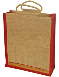Grehom Gift Bag Large - Red Zari; Beautiful Jute Bag With Embroidered Border; Made Of Eco-friendly Jute (36 X...