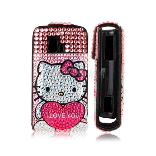 Ecell   PINK HELLO KITTY LEATHER BLING FLIP CASE FOR SONY