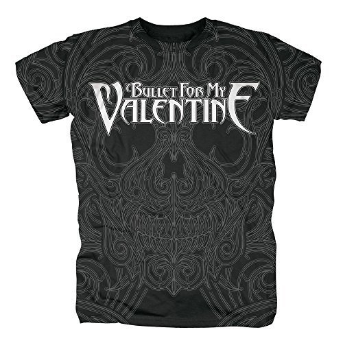 BULLET FOR MY VALENTINE - LINED SKULL (ALLOVER) - OFFICIAL MENS T SHIRT - cotone, Nero, 100% cotone, Uomo, Small