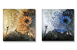 Neron Art - Handpainted Floral Oil Painting on Gallery Wrapped Canvas Group of 2 pieces - Abstract Floral NA64 16X8 inch (41X20 cm)