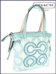 Coach Audrey Op Art Swirl Leigh Slim Tie Tote Bag Blue Green Multi 17044