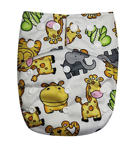 See Diapers Pocket Baby Cloth Diaper 2 Microfiber Inserts Adjustable (Zoo)