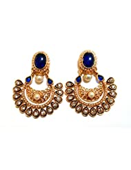Lalso Designer Ethnic Bollywood Blue Danglers Bridal Wedding Jewellery Earrings-LFER011