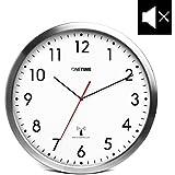 ONETIME MNU 3300 Weiße Funkwanduhr aus Aluminium mit nahezu lautlosem Sweep Uhrwerk 12 Zoll (Ø) 30,5 cm
