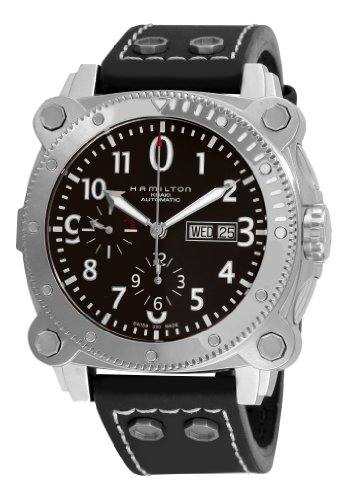 Hamilton Men'S H78616733 Khaki Navy Belowzero Black Chronograph Dial Watch