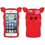 Red Pig Nose Durable Protective Silicone Skin with earphone wrap access For Apple iPhone 5 iOS (6) Smart Phone + WHITE Crystal Clear High Quality HD Noise Filter Handsfree Earbuds ( 3.5mm Jack ) + Apple iPhone 5 Screen Protector + Professor Pen 3 in 1 Red Laser Pointer / LED White Light / Stylus / White Pen + an eBigValue TM Determination Hand Strap
