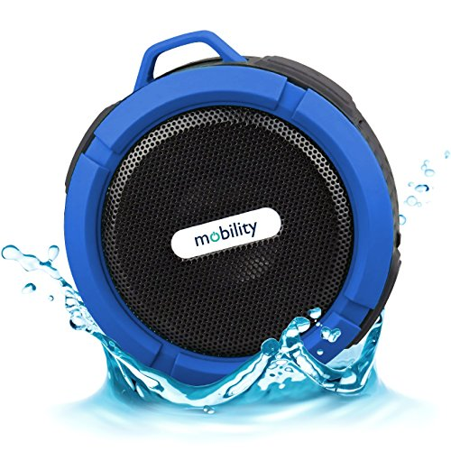 Mobility® AquaPlay Waterproof Bluetooth Speaker - Best Portable, Outdoor, and Shower Speaker - Wireless and Bluetooth 2.1 + EDR Technology - Blue