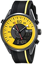 So & Co New York Soho Men's Quartz Watch with Yellow Dial Analogue - Digital Display and Black Silicone Strap 5044.3