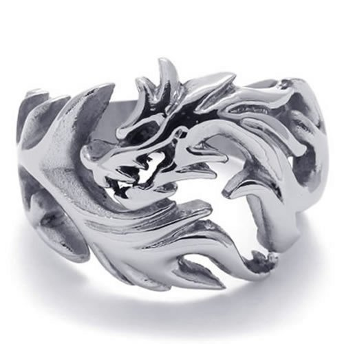 Konov Jewelry Polished Stainless Steel Dragon Men'S Ring, Silver, Size 11