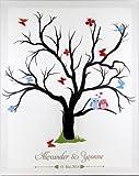 Fingerabdruck Leinwand Fingerabdruckbaum Wedding Tree Hochzeitsgästebuch als Komplettset inkl. Stempelkissen und 3D Elementen mit Individualisierung (Namen des Brautpaares und Hochzeitsdatum)