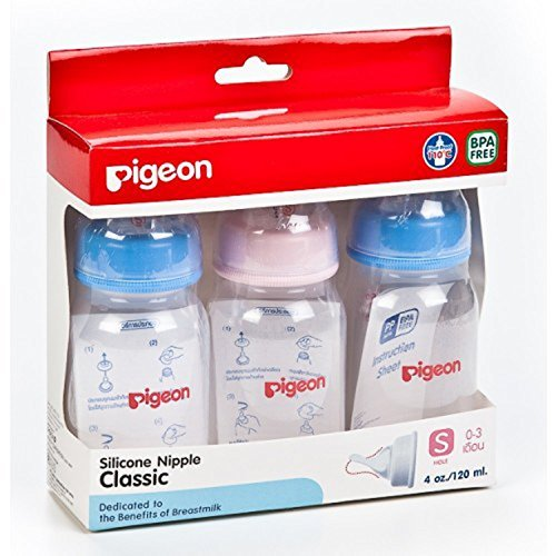 Pigeon Milk Bottle Baby Model RPP 4 Oz Size S for New Born Classic Silicone Nipple BPA Free Pack of 3 Bottle. - 1