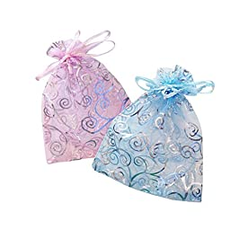 50 Organza Gift Bags Sheer Organza Pouches with High Quality Print (MixedPack. Pink/Light Blue 6 by 4.5 inches)