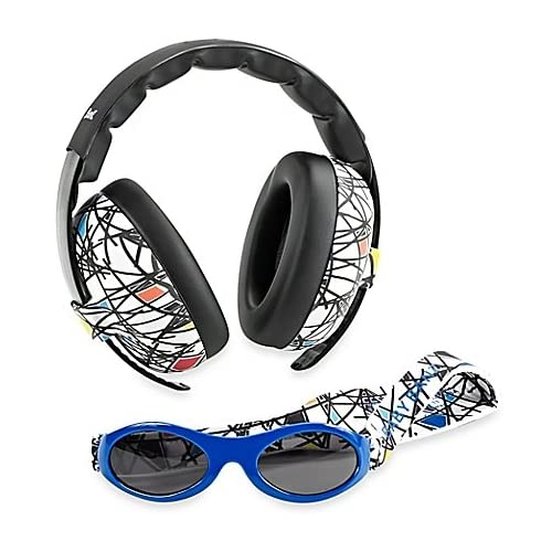 Baby Banz Earmuffs and Infant Hearing Protection and Sunglasses Combo 0-2 Years, Squiggle