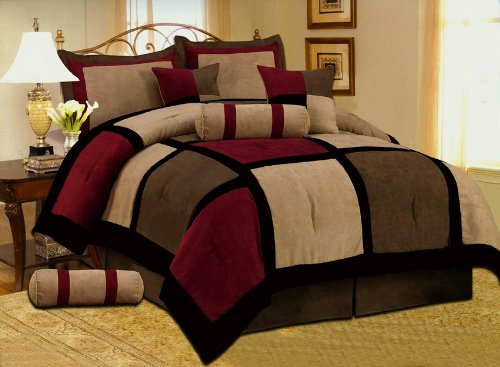 7 PC Modern Black Burgundy Red Brown Suede Comforter Set