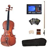 Cecilio CVA-400 15-Inch Solid Wood Flamed Viola with Chromatic Tuner