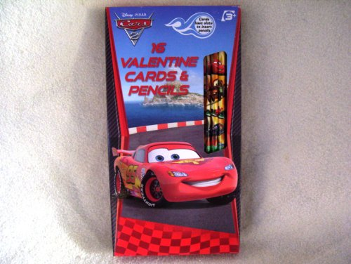 Disney Cars 2 16 Valentine Cards and Pencils