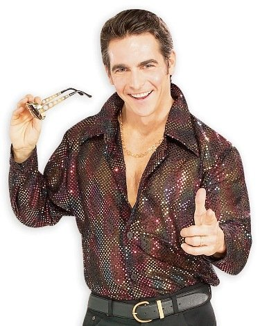 Retro 70s Disco Sequin Shirt Mens Halloween Costume