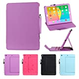 i-UniK Apple iPad Air Tablet Folio Style Auto Sleep Awake Function Protection Case / Cover [Bonus Stylus Pen] (Purple)