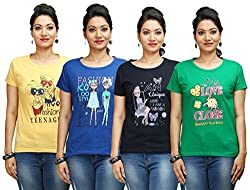 Flexicute Women's Printed Round Neck T-Shirt Combo Pack (Pack of 4)- Yellow, Pakistan Green, Navy Blue & Royal Blue Color. Sizes : S-32, M-34, L-36, XL-38