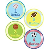 Lollipop Labels Baby Boy Sports Monthly Onesie Sticker - Waterproof And Durable - Includes 1-12 Month Stickers
