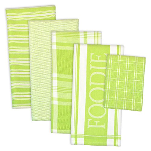 DII 100% Cotton, Ultra Absorbent, Washing, Drying, Foodie Kitchen Dishtowel 18 x 28