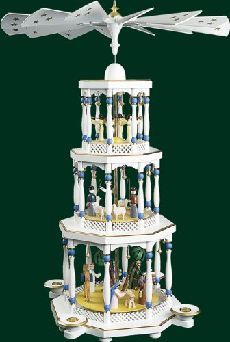 White Christmas Pyramid Christ's Birth Electrically Illuminated, 3 Floors, 103.6 Inches
