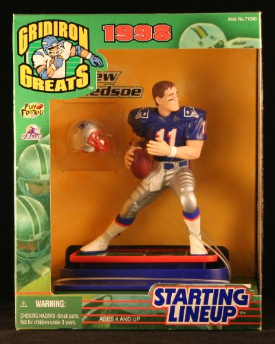DREW BLEDSOE / NEW ENGLAND PATRIOTS 1998 NFL GRIDIRON GREATS Starting Lineup Deluxe 6 Inch Figure - 1