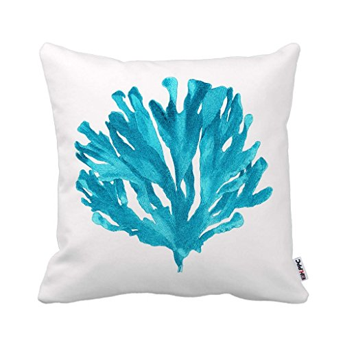 HLPPC Home Decor Turquoise Coral Pillow Zippered Throw Pillow Cover Cushion Case 45cm x 45cm (One Side)