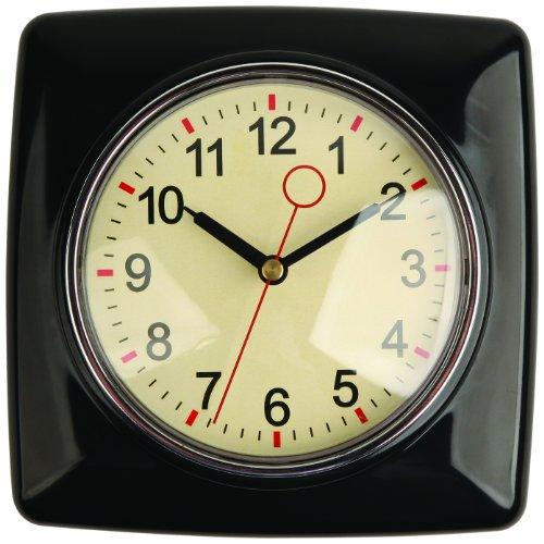 Kikkerland Retro Kitchen Wall Clock, Black