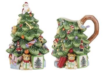 #!Cheap Spode Christmas Tree Sculpted Christmas Tree Shape Sugar and Creamer Set