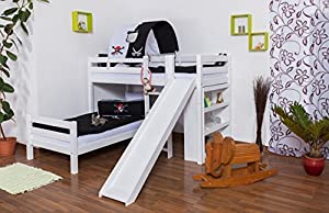 Children's bed / Bunk bed Moritz L solid beech wood, in a white paint finish, comes with shelf and slide, includes slatted frame - 90 x 200 cm
