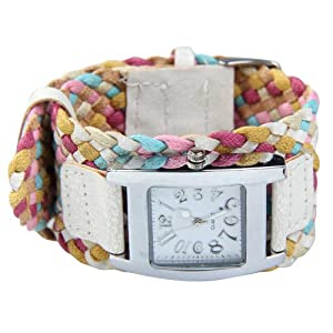 Vktech Fashion Candy Color Braided Plaited Rope Strap Wrap Quartz Lady Wrist Watch (Style C)