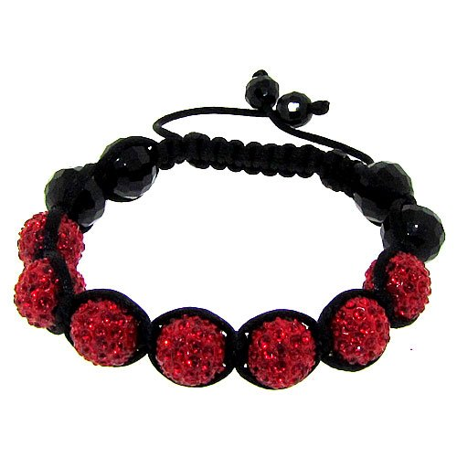 Disco Ball Macrame Shamballa Buddhist Bracelet - Black & Red - Iced Out - Hip Hop Bling