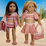 "6 piece Swimsuit Set Fits 18"" American Girl Doll Clothes"