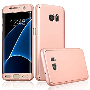Xelcoy 360 Degree Full Body Protection Front & Back Slim Hybrid Case Cover With Tempered Glass Screen Protector for Samsung Galaxy S6 EDGE - Rose Gold