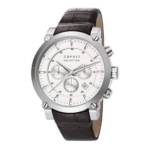 Esprit  POROS - Reloj de cuarzo para hombre, con correa de cuero, color negro