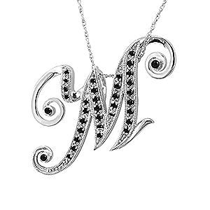 M Alphabet In Diamond Amazon.com: 14k White Gold Alphabet Initial Letter M Black Diamond ...