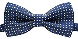 EachWell Pre-tied Boy Mini Polka Dots Woven Designer Bow Ties Party Favor Navy Blue with White Dot