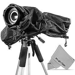 Professional Rain Cover Camera Protector for Large DSLR Cameras (CANON REBEL EOS T3i T2i T1i XT XTi XSi 60D 7D NIKON D7000 D5100 D5000 D3200 D3000 D90 D80) + MagicFiber Microfiber Lens Cleaning Cloth