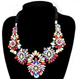 Fit&Wit Resin Beans Rhinestone Muticolor Flower Rope Fashion Necklace