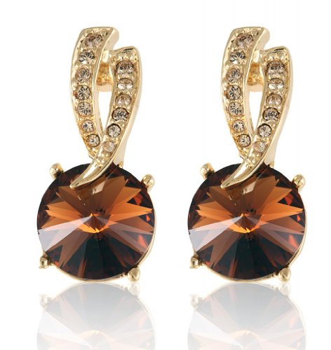 Lifestyle Infinity Brown Brass Gold Plated Dangle & Drop Earrings For Women (INF - 93185GST ) (Multicolor)