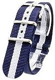 [2PiS] ( マリーン ダブルネイビー・センターホワイト : 20mm ) NATO 腕時計ベルト ナイロン 替えバンド ストラップ 交換マニュアル付 11-1-20