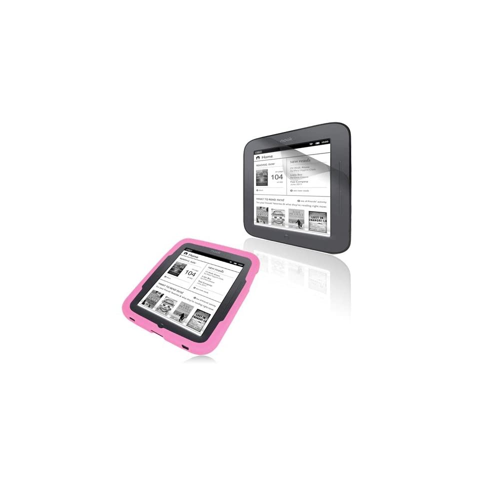 Premium Pink Silicone Case Cover and Clear Crystal Screen Protector for Barnes Nook Simple Touch Tablet