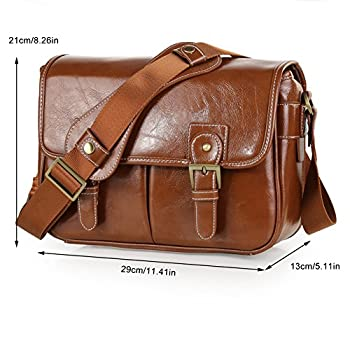 Koolertron Waterproof Vintage fashionable PU Leather DSLR Camera Bag Shoulder Messenger Bag Fit DSLR with 2 lenses For Canon Sony Nikon Canon Olympus And So On (Antique Brown)