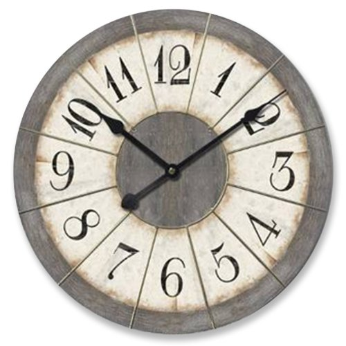 Ashton Sutton Large 23-Inch Wall Clock, Grey